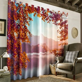 3D Red Maple Leaves and Peaceful Lake Printed Winter Scenery Living Room Window Drapes