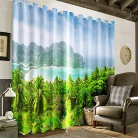 3D Lush Palm Trees and Green Mountains Printed Natural Scenery Blackout Curtain