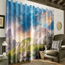 3D Naked Mountains and Blue Sky Printed 2 Panels Living Room and Window Room Curtain