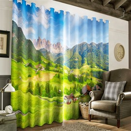 3D Sedate Villages and Green Grassland Printed Living Room and Bedroom Curtain