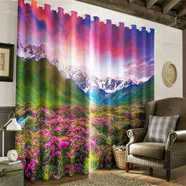 3D Charming Flowers and Rolling Mountains Printed 2 Panels Living Room Curtain