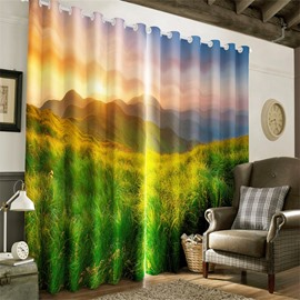 3D Green Grassland and Rolling Mountains with Soft Sunlight Printed Decorative and Blackout Curtain