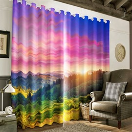 3D Rising Sunlight and Green Grassland Printed 2 Panels Living Room Curtain