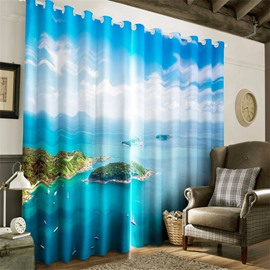 3D Great Natural Island Scenery with Blue Sky Printed 2 Panels Living Room Curtain