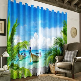3D Wooden Boats and Blue Sky with Clean Water Printed 2 Panels Grommet Top Curtain
