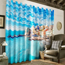 3D Blue and Clean Sea with City Printed Decorative and Heat Insulation Window Curtain