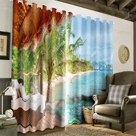 3D Leisure Sofas in the Seaside with Green Palm Trees Printed Living Room Window Curtain