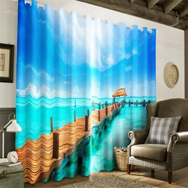 3D Wooden Bridge and Blue sea with Clean Sky Printed 2 Panels Heat Insulation Curtain