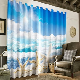 3D Beautiful Starfishes and Blue Sea and Clean Sky Printed Decorative and Blackout Drapes