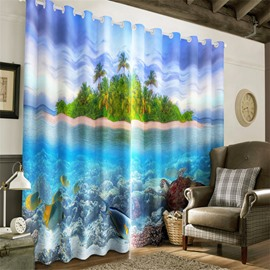 3D Green Island and Limpid Seawater with Turtle and Golden Fishes Printed Grommet Top Curtain