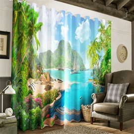 3D Green Mountains and Flowers Printed Beautiful Natural Scene Blackout Grommet Top Curtain