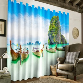 3D Wooden Boats and High Mountain in the Sea Printed Decorative and Blackout Curtain
