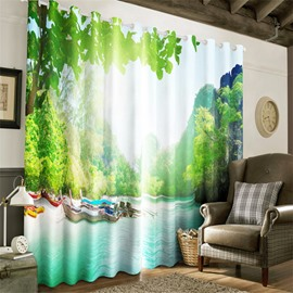 3D Bright Sunlight and Boats on the Sea Printed Decorative and Heat Insulation Curtain