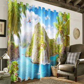 Green Island and Clean Seas with Palm Trees Printed Heat Insulation and Decorative Curtain