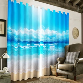 3D Blue Seas and Broad Sky with White Clouds Printed Natural Beauty Grommet Top Curtain