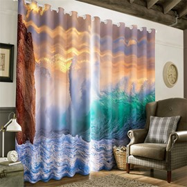 3D Golden Sunlight with White Cloud and Rolling Waves Printed 2 Panels Grommet Top Curtain