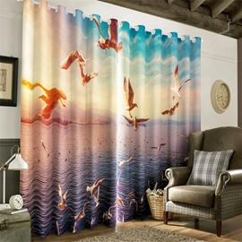 3D Flying Seagulls and Waving Seas Printed 2 Panels Living Room and Bedroom Grommet Top
