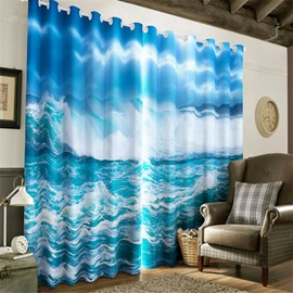 3D Surging Waves and Blue Sky Printed 2 Pieces Decorative and Light Insulation Curtain