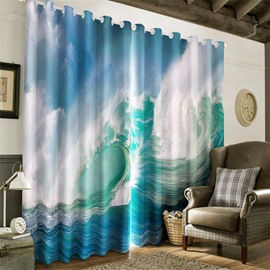 3D Rolling Waves Printed Thick Polyester Printed 2 Panels Window Curtain