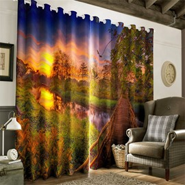 3D Yellow Grassland and Limpid River Night Scenery Printed 2 Panels Living Room Curtain