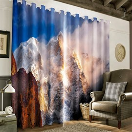 3D Rolling Ice Mountains Printed Room Darken Heat Insulated Living Room Curtain