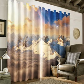 3D Rolling Snowy Mountains and Soft Sunlight Printed 2 Panels Living Room Curtain