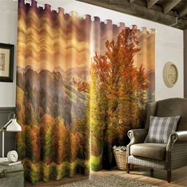 3D Rolling Mountains Covered with Yellow Plants Autumn Scenery Printed Living Room Curtain
