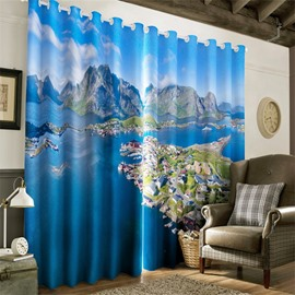 3D City on Island and Blue Seas Printed Natural Scenery 2 Panels Decorative Curtain