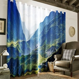 3D Steep Mountains and Narrow Valley Printed Natural Scenery 2 Panels Living Room Window Curtain