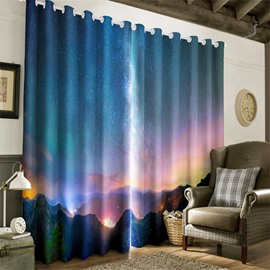 3D Rolling Mountains in the Night Sky Printed Decorative and Blackout Living Room Curtain