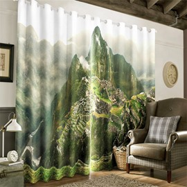 3D Steep Mountain Peak and Ancient Architectures Printed Living Room Window Drapes