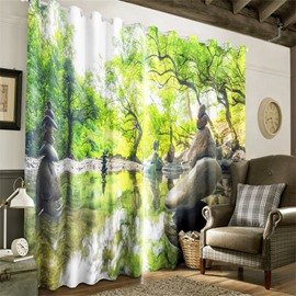 3D Peaceful Lake and Verdant Leaves Printed Natural Style 2 Panels Decorative Curtain