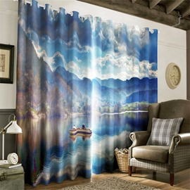 3D Clean and Peaceful Lake with Rowing Boat Printed Living Room and Bedroom Curtain