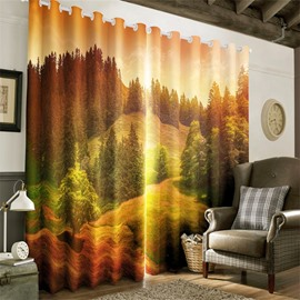 3D Soft Sunlight and Fresh Green Hillside Printed Natural Beauty Two Panels Grommet Top Curtain