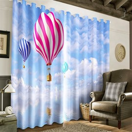 3D Blue Sky and White Clouds and Parachutes Printed Modern Style Grommet Top Curtain
