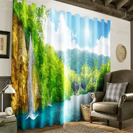 3D Forests and Mountains with Lake Printed Decorative and Heat Insulation Grommet Top Curtain
