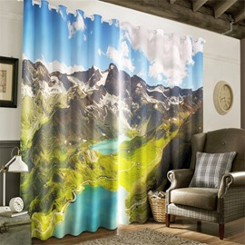 3D Rolling Mountains and Winding Road Printed 2 Pieces Decorative and Blackout Curtain