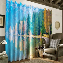 3D Peaceful Lake and Lush Forest Printed Natural and Pastoral Style Grommet Top Curtain
