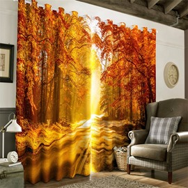 3D Red Trees Forest and Small Road with Soft Sunlight Printed Decorative and Blackout Curtain
