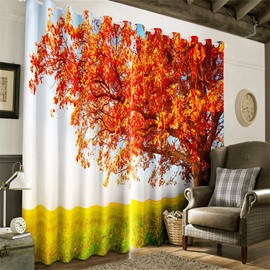 3D Red Leaves and Verdant Grass Printed 2 Panels Decorative and Heat Insulation Curtain
