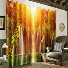 3D Forest Waterfalls and Soft Sunlight Printed 2 Pieces Decorative and Heat Insulation Curtain