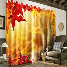 3D Red Leaves Printed Autumn Scenery Abstract Style Living Room Drapes
