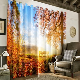 3D Red Leaves and Bright Sunlight Autumn Scenery 2 Panels Decorative and Blackout Curtain