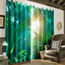 3D Bright Sunlight Through the Lush Forest Printed Living Room and Bedroom Curtain
