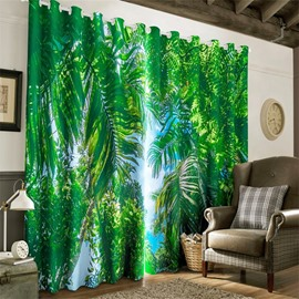 3D Lush Conifers and Soft Sunlight Printed 2 Panels Heat Insulated Custom Curtain