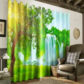 3D Lush Green Leaves and Waterfalls Printed Two Panels Living Room and Bedroom Curtain