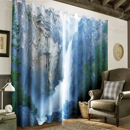 3D Secluded Valley Waterfalls Thick Forest Printed Room Darken Heat Insulated Drapes