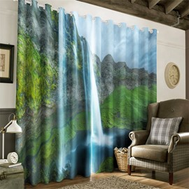 3D High Mountains Printed Natural Beauty Printed 2 Pieces Heat Insulation Drapes