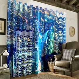 3D Wonderful Night City Scenery Printed 2 Panels Decorative and Heat Insulation Drapes