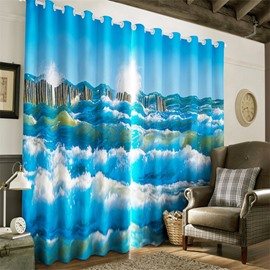 3D Navy Blue Waving Seas Printed Decorative and Room Darken Heat Insulated Living Room Curtain